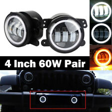 "Halo Amber Angel Eyes 2 LED 4"" Inch Fog Light Lamp For Dodge Jeep Wrangler JK"