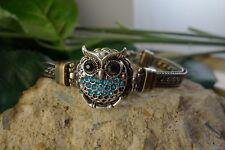 OWL LOVE multi chain Antique Bronze snap button bracelet jewelry women family