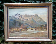 Alpine Paisaje de Garmisch. Pintura al óleo CLEMENS FRAENKEL 1872 FFM / Munich