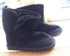 Black Suede / Fluffy Boots Size 2 -  new