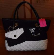 BETSEY JOHNSON BONE/BLACK TRENDY SHOPPER W/WRISTLET/MEDIA CASE-BNWT