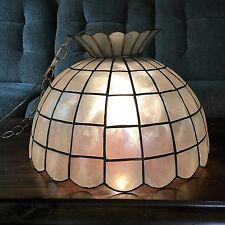 Vintage Mid Century Hollywood Regency leaded Capiz Shell Swag Lamp Chandelier