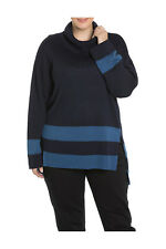 NEW Yarra Trail Woman Banded Stripe Relaxed Knit Navy