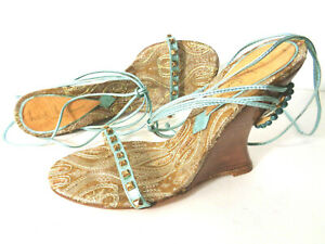 NICOLE MILLER 6.5M Turquoise Leather Gold Tapestry Strappy Wedge Sandals ITALY