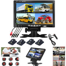 """7"""" QUAD 4CH MONITOR +4 × Front/Left/Right/Rearview CAMERA CAR SECURITY SYSTEM"""