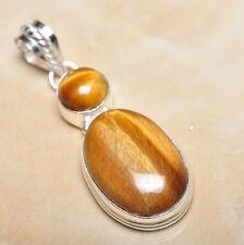 "Handmade Golden Tiger's Eye Gemstone 925 Sterling Silver Pendant 2.25"" #P13694"