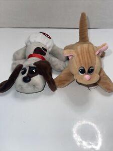"""Pound Puppies Purries Lot Of 2, Tabby Cat Brown Spot Puppy, Tonka 8"""" Plush Toy"""