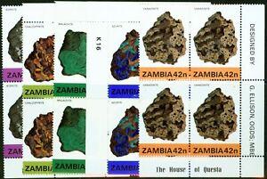 Zambia 1982 Minerals 2nd Series set of 5 SG370-374 V.F MNH Corner Blocks of 4