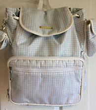 Boys Baby Diaper Change Bag Maggi  B Bebe Blue White Gingham Check Backpack New
