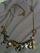 Betsey Johnson Vintage Monkey Corset Hearts Pearls Charms Toggle bracelet NEW !