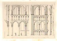 1857 Grande Arquitectura Estampado ~ Dijon Catedral Notre Dame Medieval Gótico