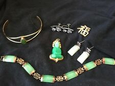Oriental Vintage Costume jewelry lot jade earrings bracelet pendant