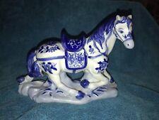 Vintage Hand Painted  Blue and White Porcelain Show Horse Statue EUC