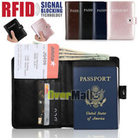 Mens Women RFID Blocking Leather Credit Card Wallet Purse Travel Passport Holder