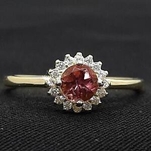 .65ctw Pink Sapphire & Diamond Cut White Sapphire 14K Yellow Gold 925 Ring