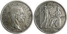 ITALIEN , VICTOR EMMANUELLE III , 20 LIRE SILBER 1928 , ROM