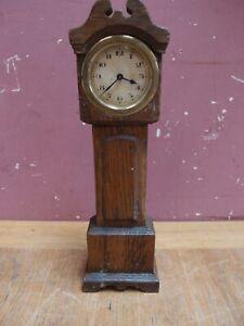 VINTAGE 1930s MINIATURE LONGCASE CLOCK OAK CASE NON WORKING PROJECT