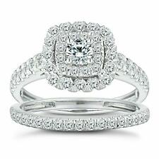 1 Ct Double Halo VS/F Diamond Cushion Style Bridal Ring Set in 18K White Gold