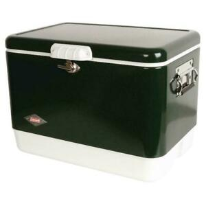 Steel Belted 54 Quart Retro Classic Cooler Box Green Stainless Steel