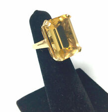 Vintage 14K Gold Large Emerald Cut Citrine Cocktail Ring