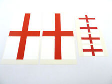 6 England Flag Window Stickers, St George Cross, 'Inside Fix Outside View'