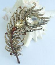 Bouquet Brooch Topaz Crystal Rhinestone Peacock Feather Brooch Pin EE05038C7