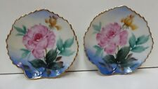 PAIR HAND PAINTED PORCELAIN WALL PLATES FLOWERS ROSES