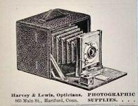 1899 Harvey & Lewis Opticians Camera Supplies Hartford Connecticut Vtg Print Ad
