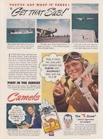1944 U.S. Navy Grumman Avenger & Pilot photo Camel Cigarettes vintage print ad