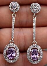 18K White Gold Filled- 1.8'' Oval Amethyst Topaz Zircon Gem Party Drop Earrings