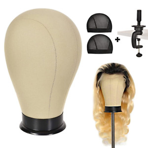 23inch Wig Head with Stand Canvas Block Head for Wigs Mannequin Canvas Head for