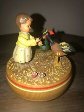 Thorens Anri revolving wooden music box Little girl rooster tree-Hi Lillo Hilo