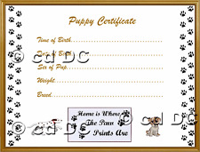 """PUPPY/DOG CERTIFICATES OF BIRTH FOR YOUR POOCHES approx 7""""x 5"""" Design 1"""