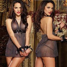3PCS Sexy-Women's-Lingerie-SHINY-G-string-Dress-Sleepwear-Underwear-Babydoll New