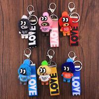 Cute Cartoon Teddy Bear Keychain Plush Hats Women Key Chain Bag Pendant Jewelry