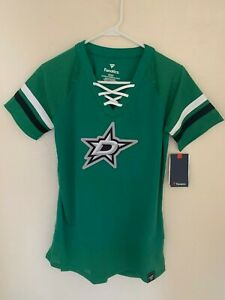 Dallas Stars Fanatics Branded Women's Draft Me Lace Up T-Shirt - Green NWT