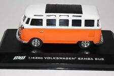GREENLIGHT VOLKSWAGEN SAMBA BUS MOTOR WORLD #86010 WHITE/ORANGE 1:43 SCALE