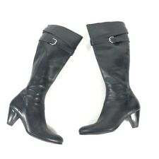 Ecco Women's black leather heel buckle knee high boot riding tall 39