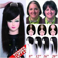 European Remy Human Hair Topper Hairpiece Mono Base Top Piece for Women Half Wig