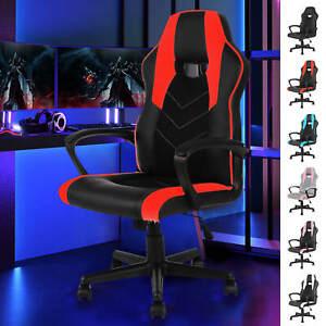 Adjustable Office Gaming Chair Armrests Ergonomics Computer Desk Chair Swivel PU
