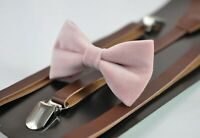 Blush Dusty Pink Velvet Bow tie + Brown Faux leather Suspenders for Boy Kids