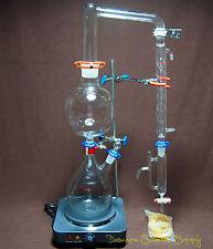 Essential Oil Steam Distillation Apparatus,US 110V Hot Plate,W/Allihn Condenser