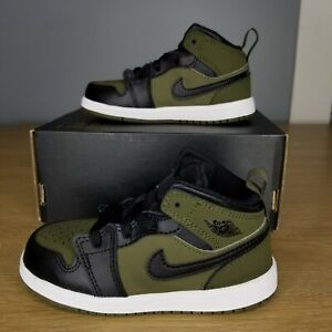 Nike Air Jordan 1 Mid Olive Canvas Black Size 8C Toddler's Shoes 640735-301