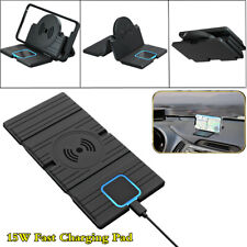 2in1 QI Wireless Car Charging Charger Non-slip Pad Mat Phone Dash Mount Stand