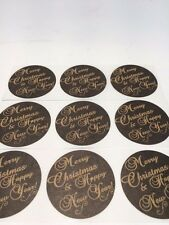 "50 Merry Christmas and Happy New Year 2"" Sticker Natural Kraft Paper Seals NEW"