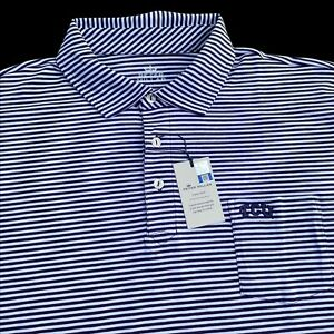 Peter Millar Seaside Purple Stripe Stretch Cotton Polo Shirt TCU XL $105