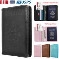 Travel Passport ID Card Wallet Holder Cover RFID Blocking Leather Purse Case USA