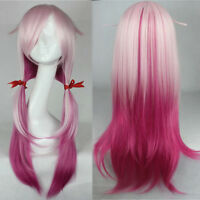 Anime Sin Crown Praying Inori Women Long Red Pink Gradient Hair Cosplay Full Wig
