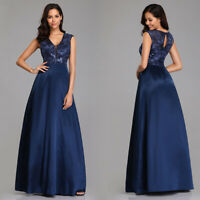 Ever-Pretty A Line Party Dress Long Lace Satin V-neck Formal Evening Prom Dress