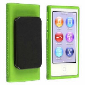 Green TPU Rubber Case Cover with Belt Clip for Apple iPod Nano 7th Gen 7 7G NEW